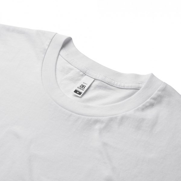 Close up of the collar and label of the AS Colour mens basic white tee 5051,