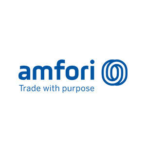 Logo for Amfori, trade with purpose, in association with Anthem organic t-shirts and tops at Fifth Column printers.