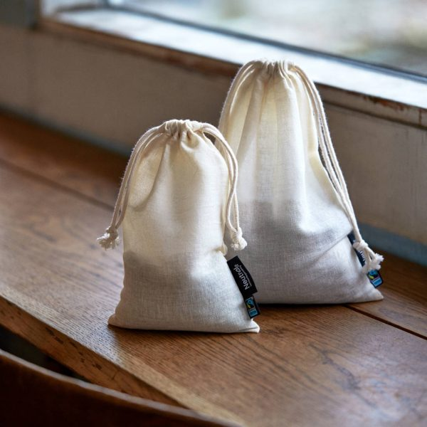 Neutral Cotton Drawstring Bag O95025