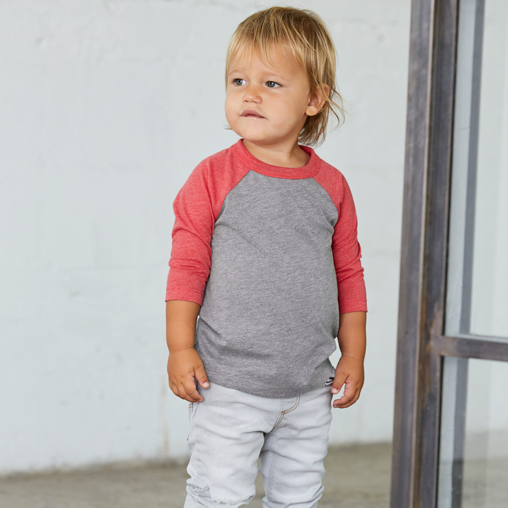 bella canvas 3200t toddler 3/4 sleeve baseball t-shirt