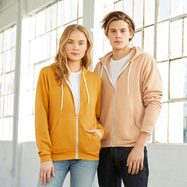 bella canvas 3739 unisex polycotton full zip hoodie