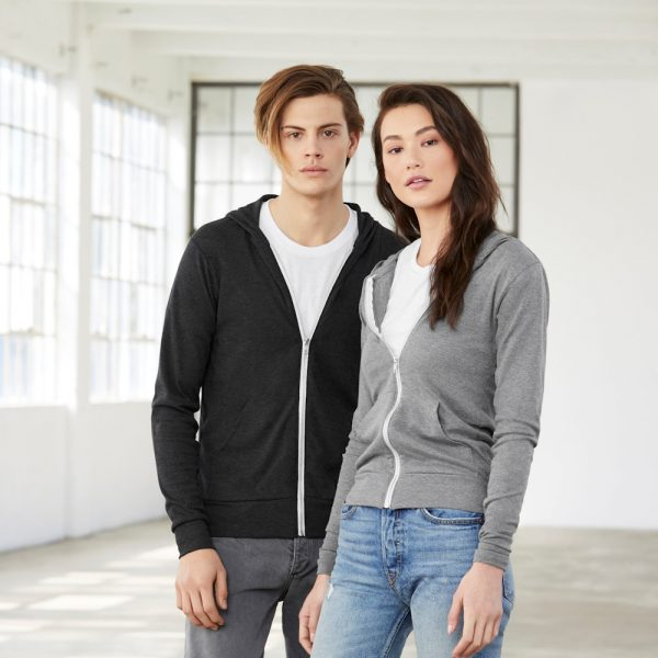 bella canvas 3939 unisex lightweight zip hoodie