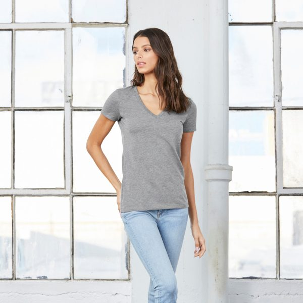 bella canvas 8435 womens triblend deep v-neck t-shirt