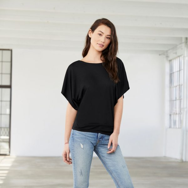 bella canvas 8821 womens flowy draped sleeve dolman tee