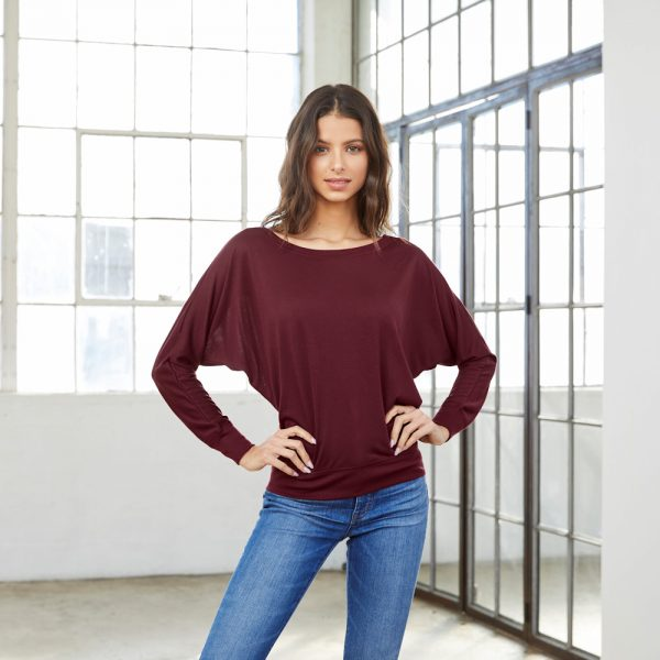 bella canvas 8850 womens flowy off-the-shoulder long sleeve t-shirt