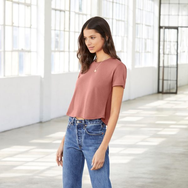 Bella Canvas Flowy Cropped t-shirt printing at Fifth Column.
