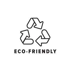 Eco-friendly recycling logo at Fifth Column printers.