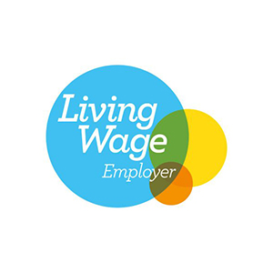 Living Wage employer logo at Fifth Column printers.
