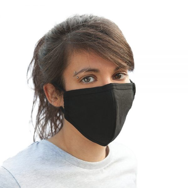 No Sweat organic cotton face mask (NS05) available for printing at Fifth Column, UK printers.
