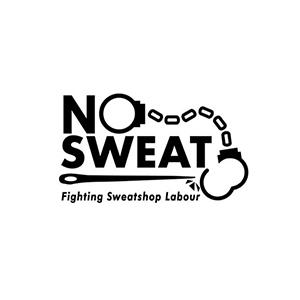 No Sweat Fighting Sweatshop Labour logo at Fifth Column printers.