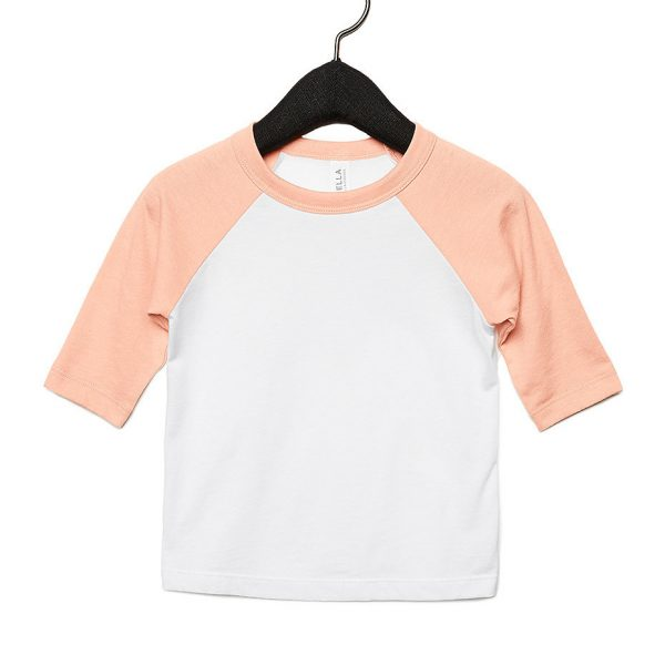 Bella and Canvas toddler 3/4 sleeve baseball t-shirt 3200T, available for printing at Fifth Column printers.
