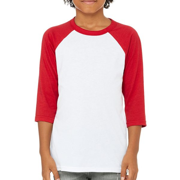 Bella and Canvas youth 3/4 sleeve baseball t-shirt 3200Y, available for printing at Fifth Column.