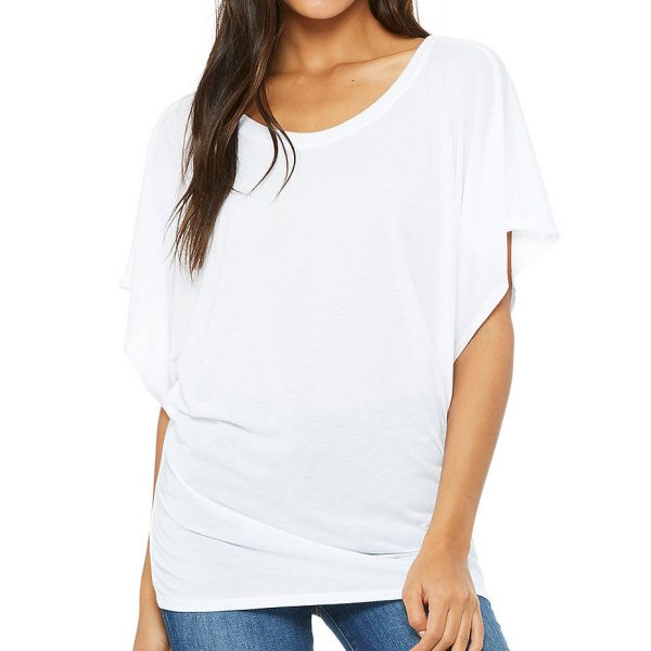 Bella and Canvas womens flowy draped sleeve Dolman t-shirt 8821.