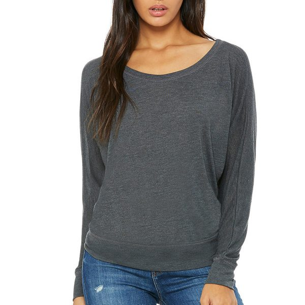 Bella and Canvas womens flowy off-the-shoulder long sleeve t-shirt 8850, to order for printing at Fifth Column.