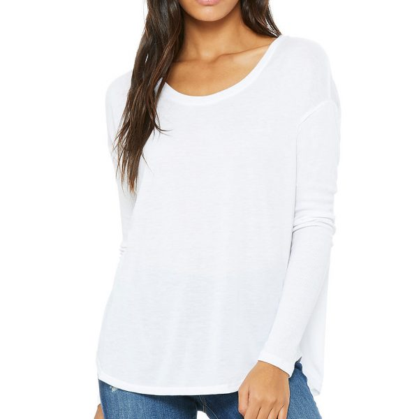 Bella and Canvas womens flowy long sleeve 2x1 t-shirt 8852, available to buy for printing at Fifth Column UK.