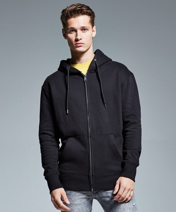 Anthem men's zip hoodie AM002, available for printing and embroidery at Fifth Column, UK printers.
