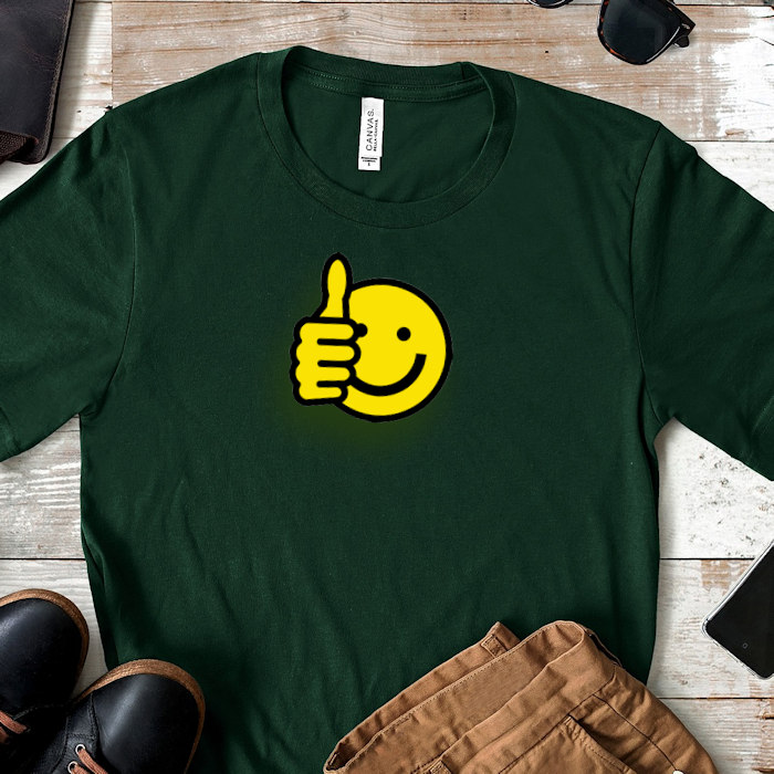 Thumbs up printed t-shirt showing the positives for dropship print on demand t-shirts.