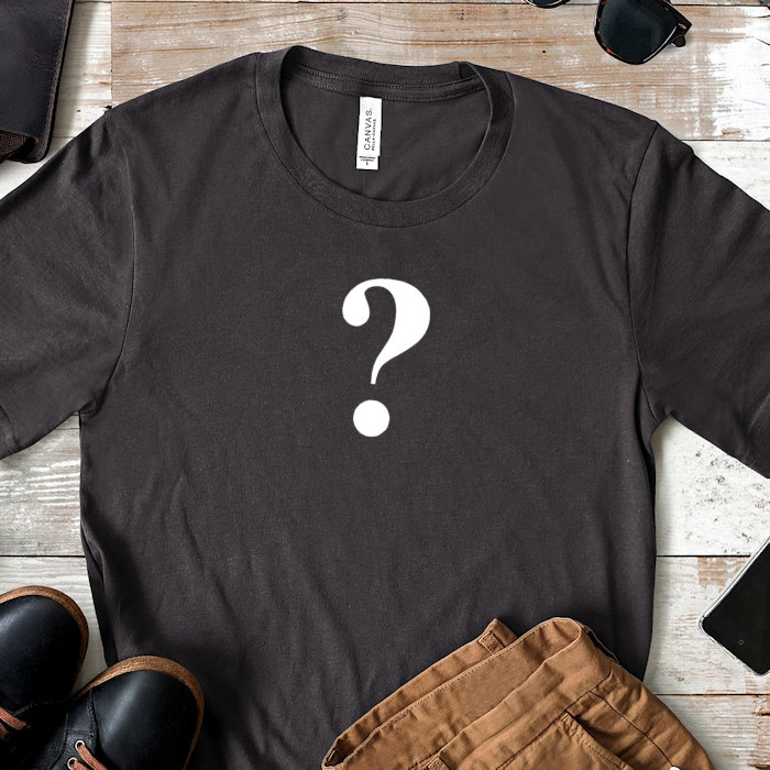 Question mark printed t-shirt to explain the terminology for dropship print on demand t-shirts.