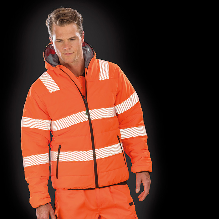 R500X Recycled safety jacket, part of the range of Result Genuine Recycled blank clothing.