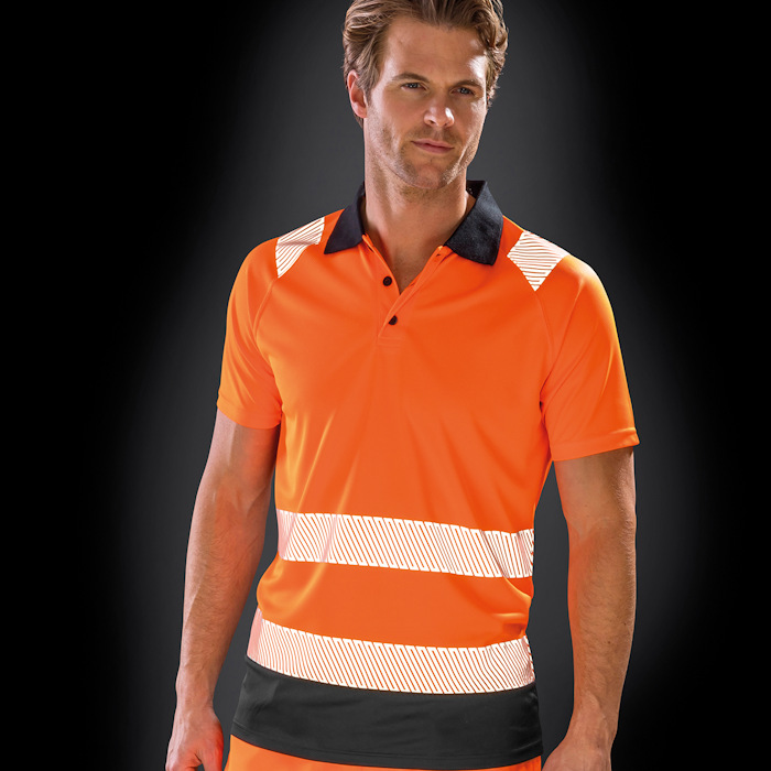 R501X recycled safety polo, part of the range of Result Genuine Recycled blank clothing.