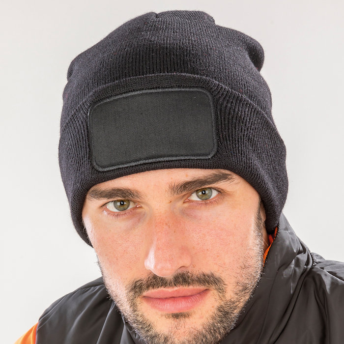 RC927 recycled printers beanie, part of the range of Result Genuine Recycled blank clothing.