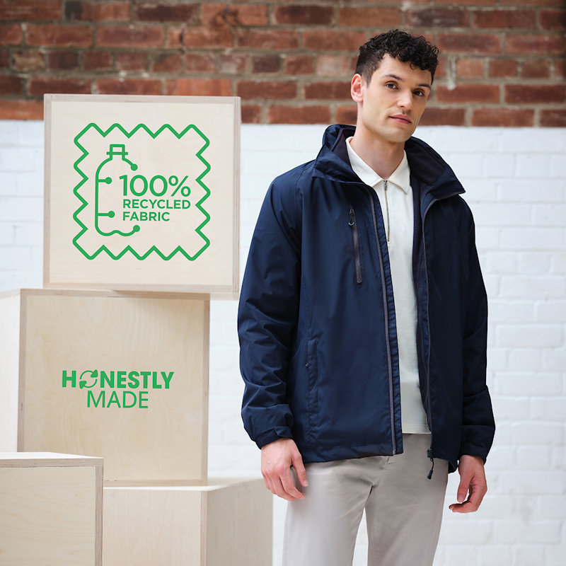 Model wearing a Regatta Honestly Made TRA154 Recycled 3-in-1 Jacket.