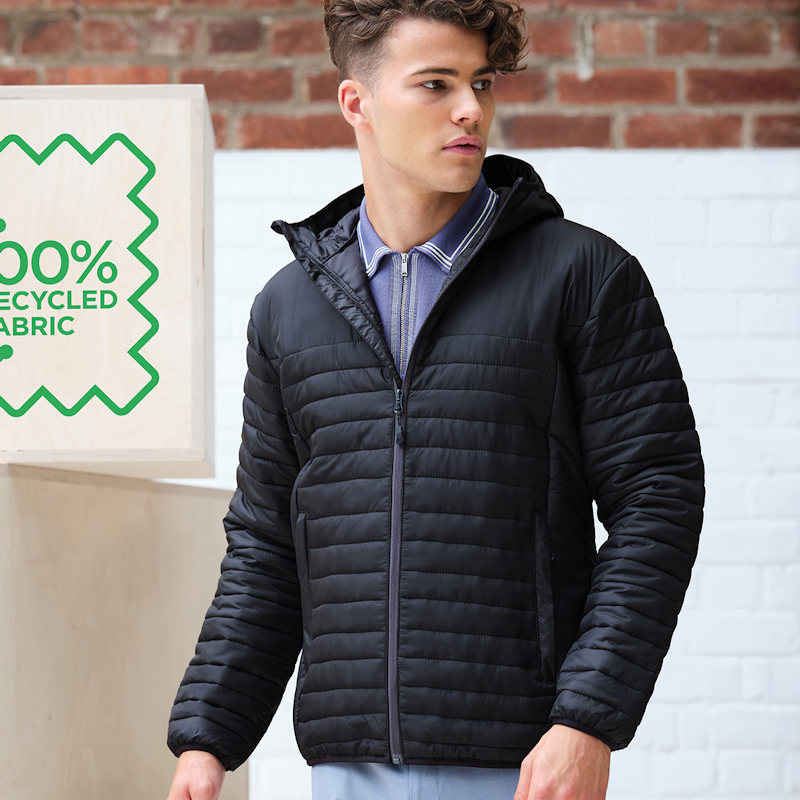 A model wearing a Regatta Honestly Made TRA423 Ecodown Thermal Jacket.