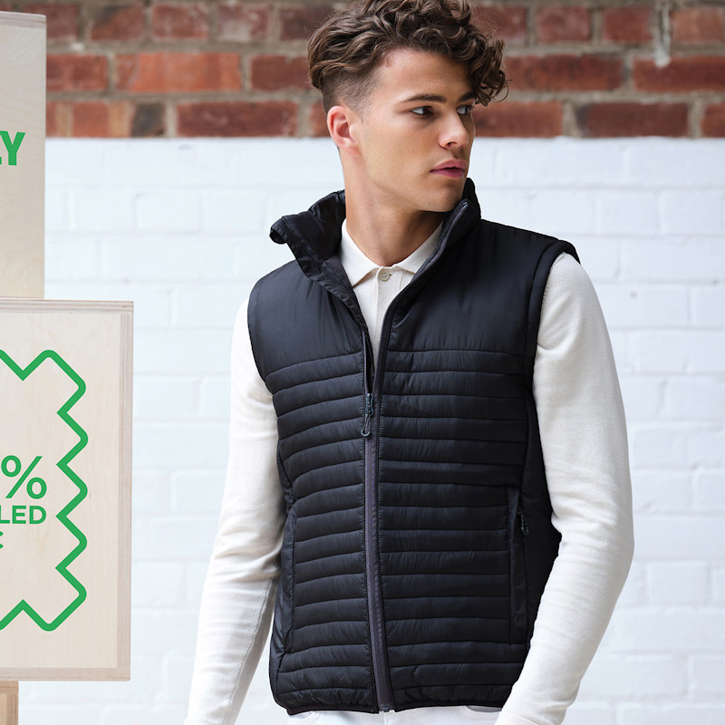 A model in a Regatta Honestly Made TRA861 Recycled Insulated Bodywarmer.