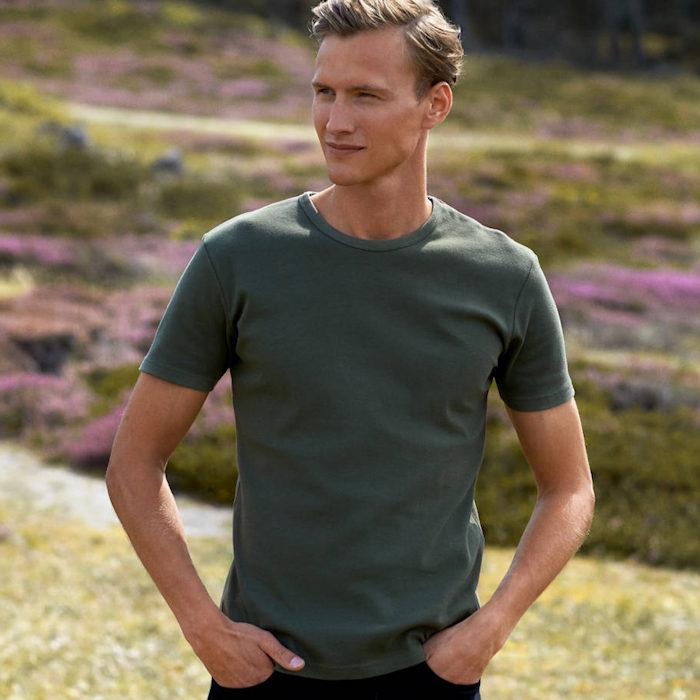 Neutral interlock t-shirt O61030, an example of t-shirt printing heavyweights.