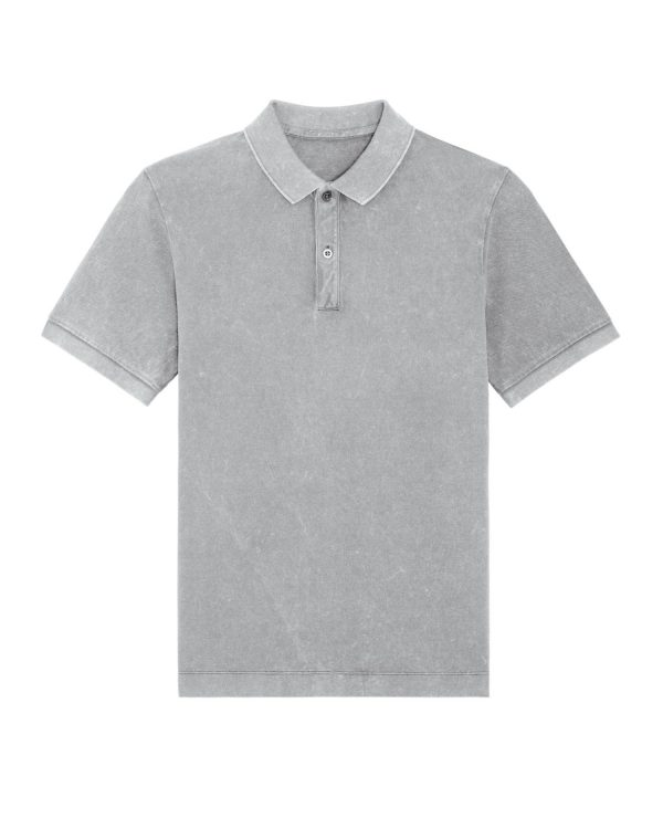 Prepster Vintage garment dyed aged light grey polo shirts.